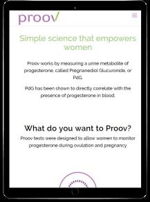 tablet version of proov website that I built